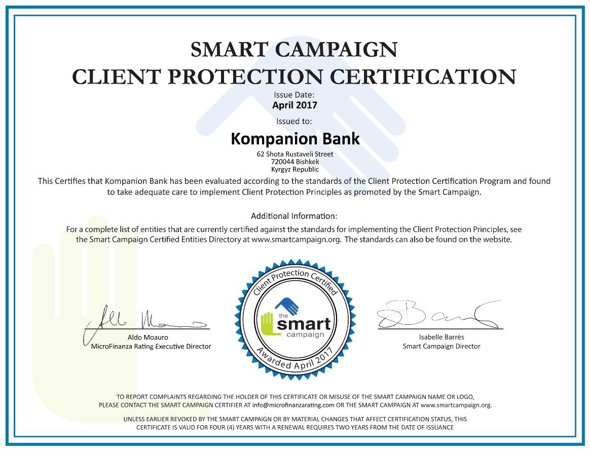 Kompanion bank received the international smart campaign kompanion2017 certificate xflitez Gallery